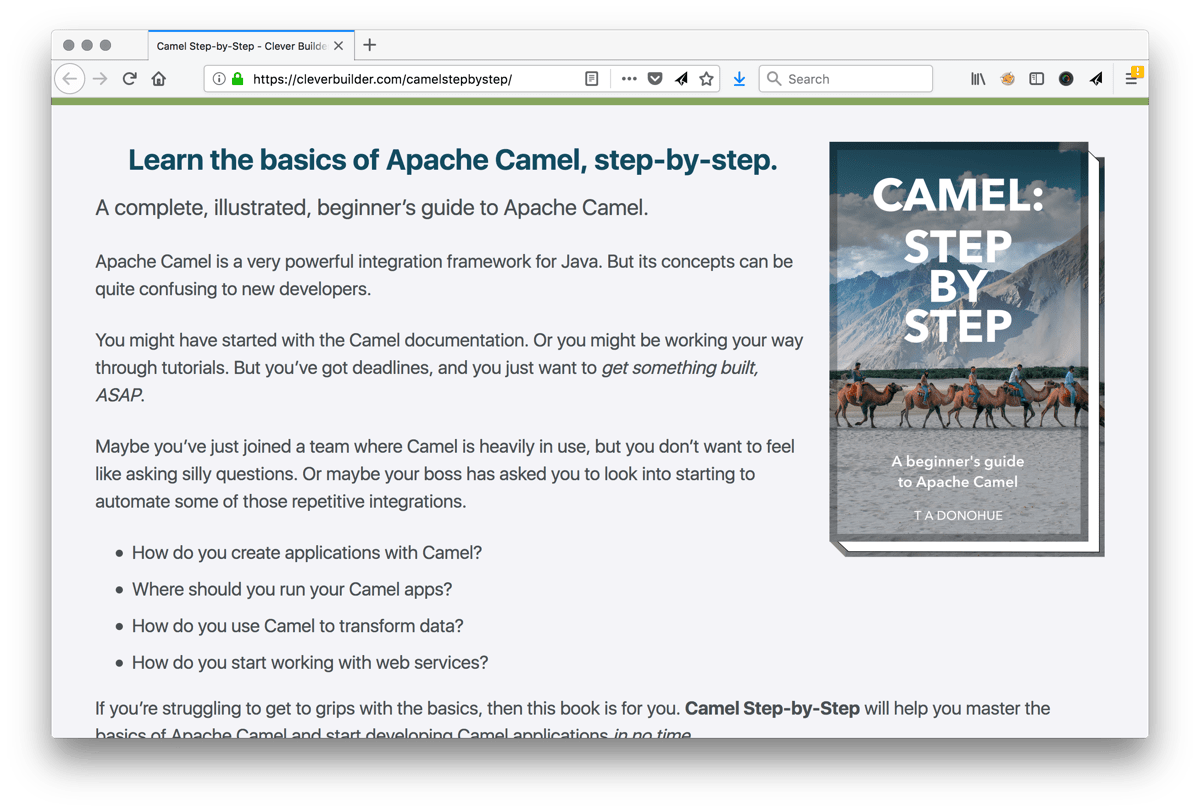 Camel Step-by-Step landing page
